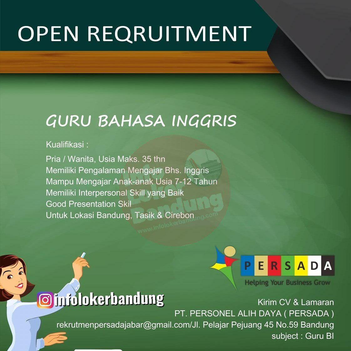 Lowongan Kerja Guru Bahasa Inggris Persada Bandung Oktober 2019