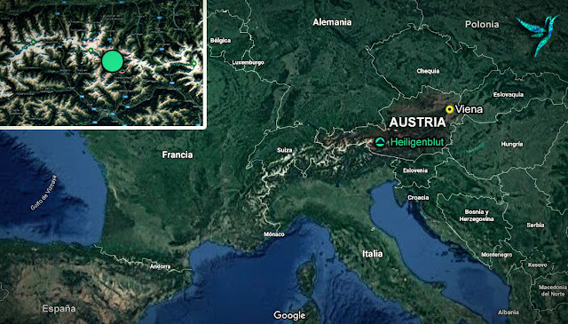 mapa de europa ubicando a heiligenblut en austria