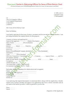 Application letter to Rationing officer for issue of new Ration card