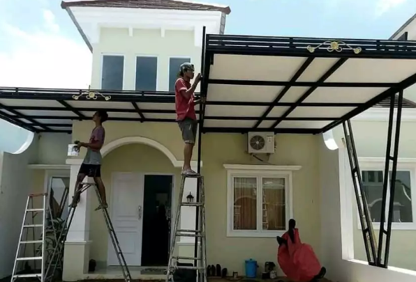 contoh kanopi baja ringan atap spandek 41 model minimalis modern terbaru untuk teras rumah