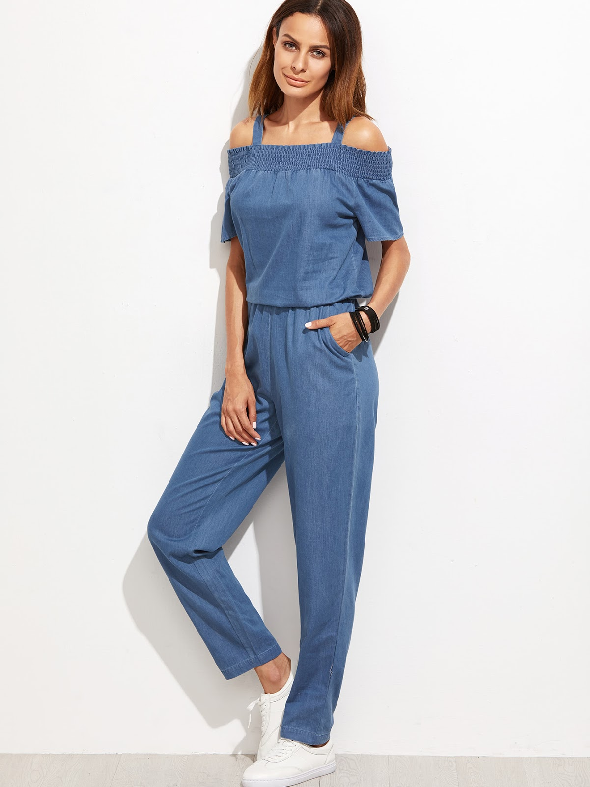 Shirred Open Shoulder Chambray Jumpsuit With Pocket
