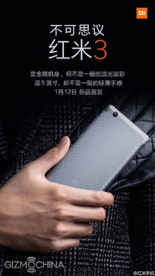 Xiaomi Redmi 3 to be launched on January 12th