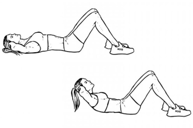 Lift upper body forward while lying on your back