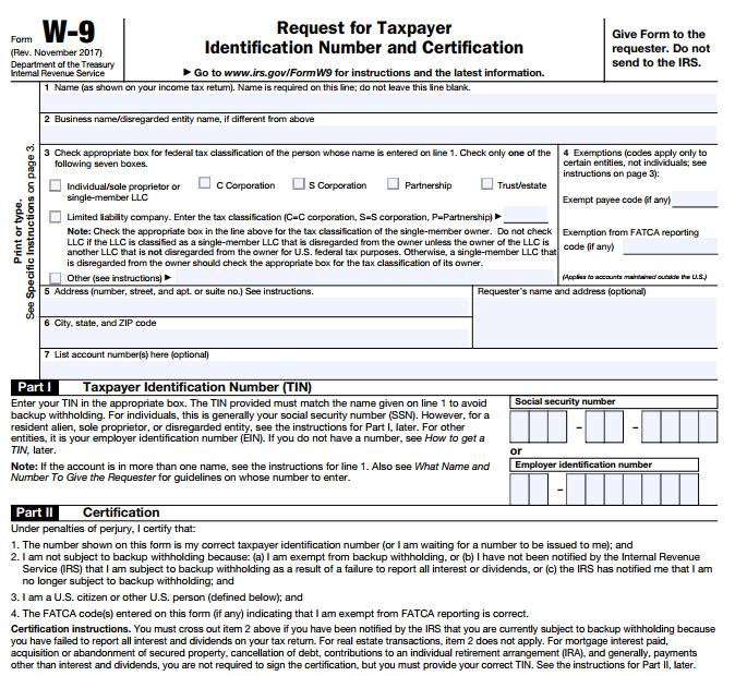 Tax form W-9 2018