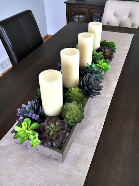 DIY succulent and candle centerpiece