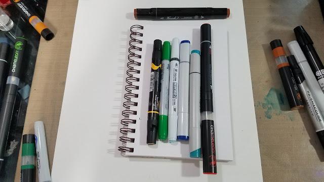 Comparison photo of Chameleon Color Tone marker, Sharpie Brush marker, Prismacolor Brush marker, Stylefile marker, Copic Sketch marker, and Chameleon Color Top