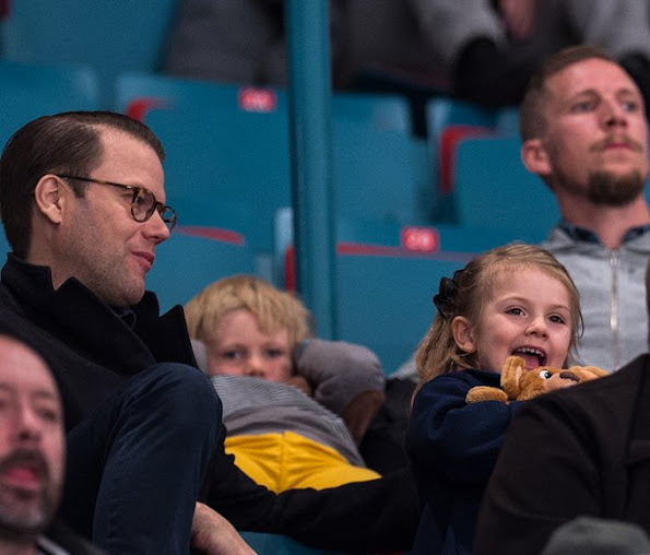 Princess Estelle and her father Prince Daniel at Hovet Globe Arena in Stockholm for AIK hockey match