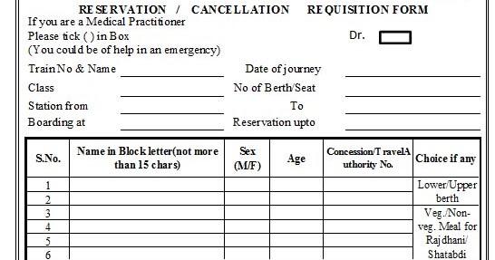 Abhijeet Indian Railway Reservation form in Excel Format