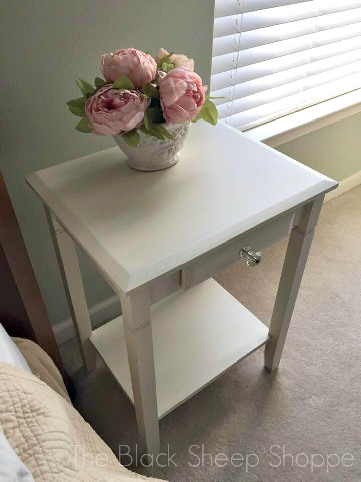 Freshly painted nightstand.