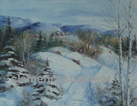 Winter sports, oil, 11 x 14 - children sliding on a snowy hill - painting by Clemence St. Laurent