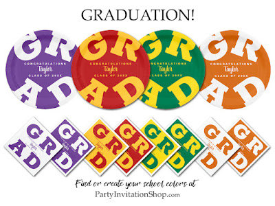 Shop Graduation Tableware and Invitations