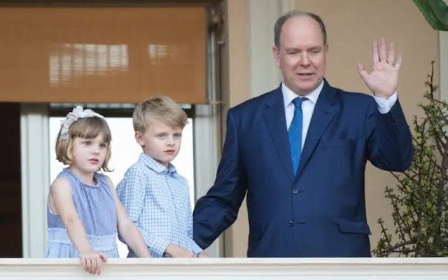 Princess Gabriella wore a newstripe-print tiered dress from Il Gufo.  Prince Albert and Hereditary Prince Jacques.