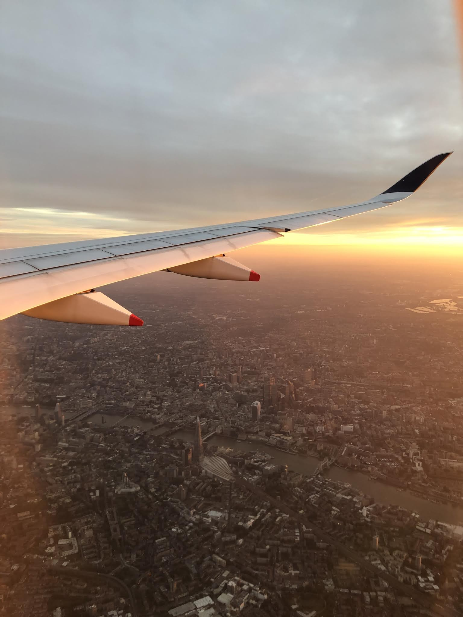 London during sunrise shot from an airplane