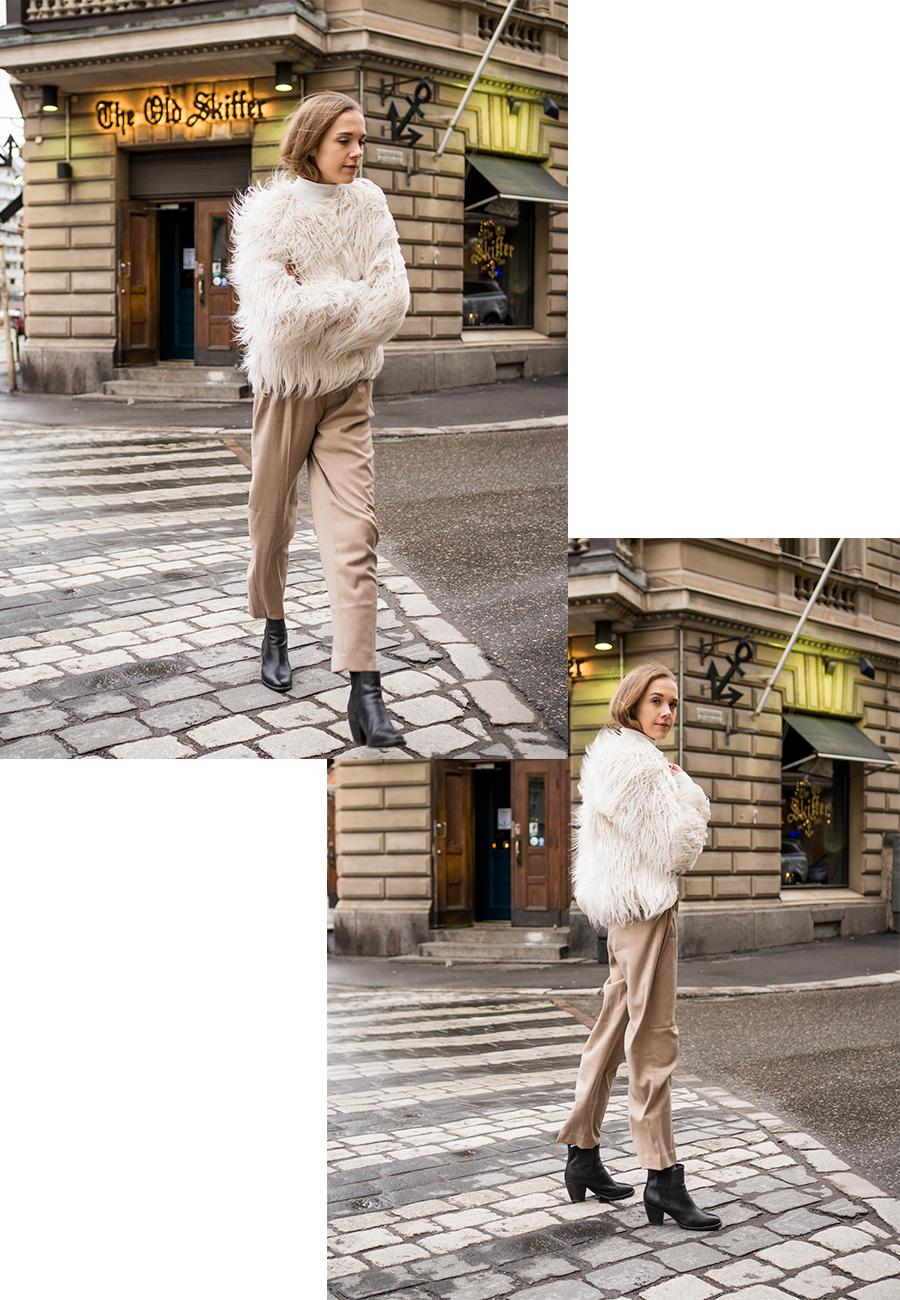 Kuinka pukea valkoinen karvatakki // How to wear a white faux fur coat