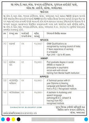 Gujarat Medical Education and Research Society(GMERS)  General  Hospital Sola Ahmedabad has published an Advertisement for Staff Nurse, Social Worker & Other Post 2019