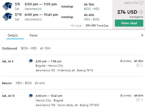 Muy Caliente!! Bogota to Mexico from $279 in Business Class with