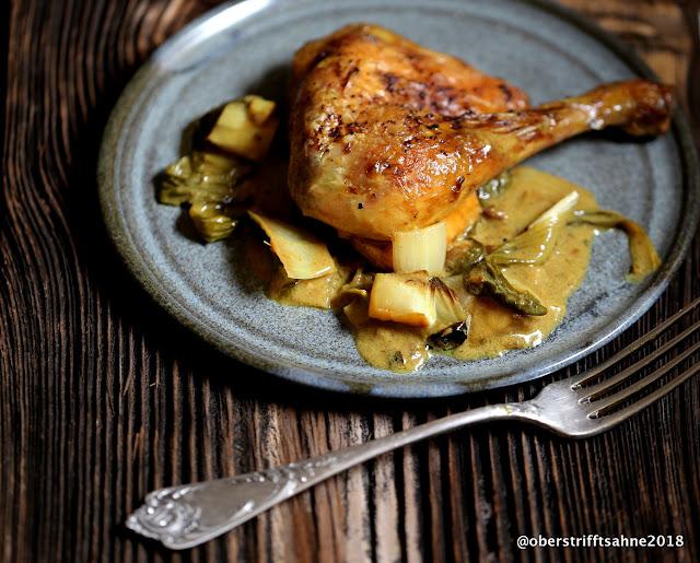 Huhn aus dem Ofen in Curry Sauce