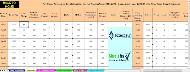 Tax for the Bihar State Employees