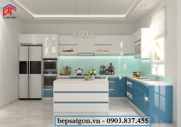 tủ bếp hiện đại, tủ bếp chữ L, tủ bếp acrylic