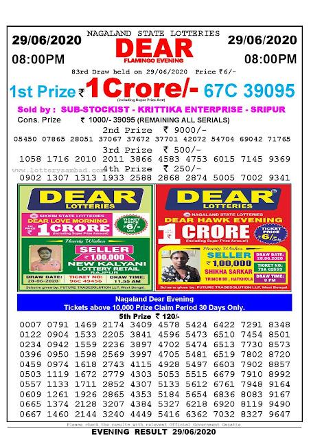 Nagaland State Lotteries 29-04-2020 Lottery Sambad Result 800 PM