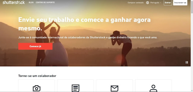 capa do site Shutterstock