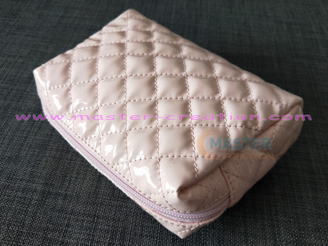 pink leather cosmetic bag