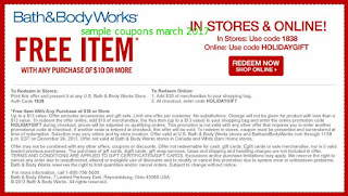 free Bath And Body Works coupons for march 2017