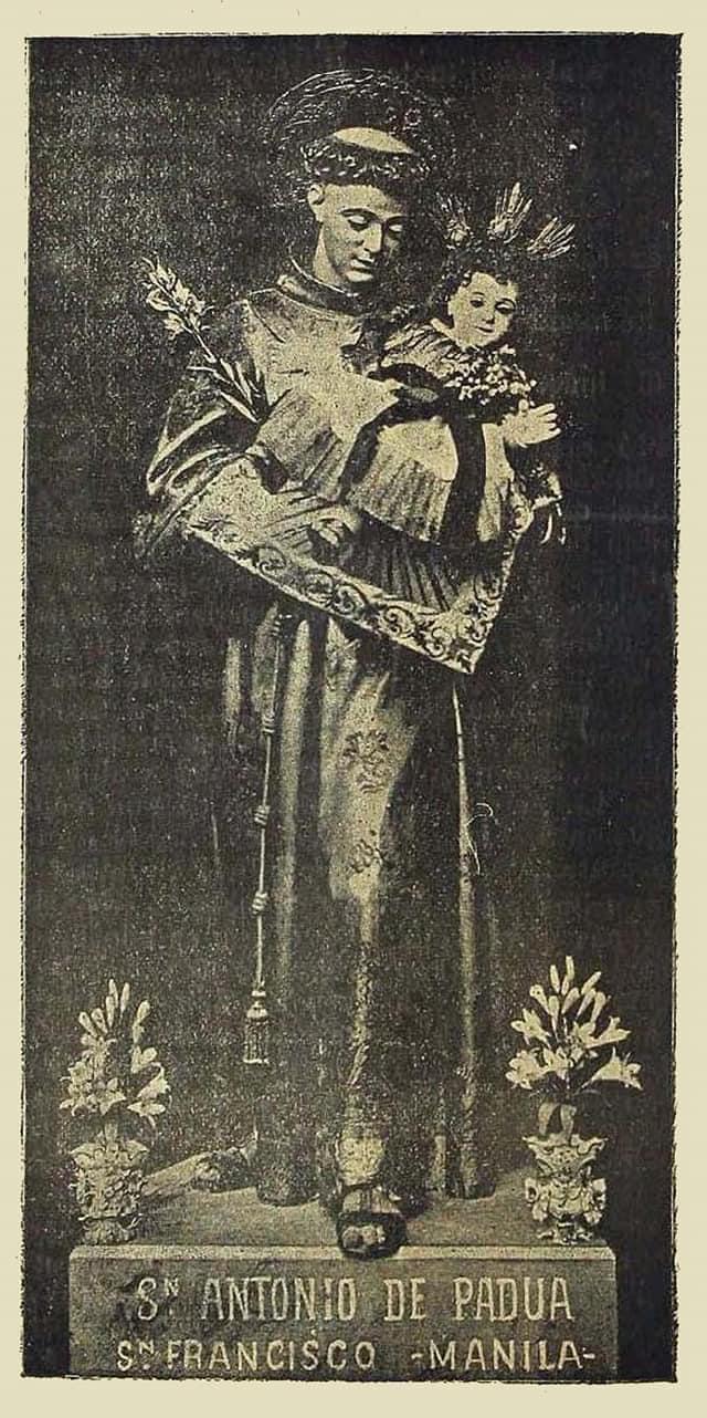 Image of St. Anthony. Its devotion transferred to Sampaloc, Manila