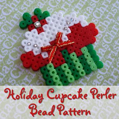Festive Holiday Christmas Cupcake Perler Bead Design Craft Tutorial