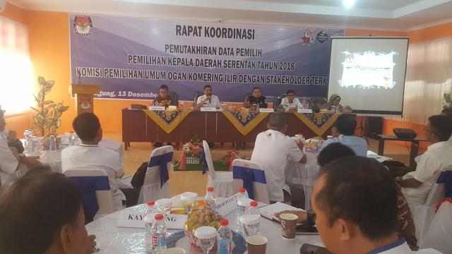KPU OKI Gelar Rapat Koordinasi Pemutahiran Data Pemilih