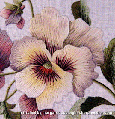 Example of higher contrast on needlepainted pansy.