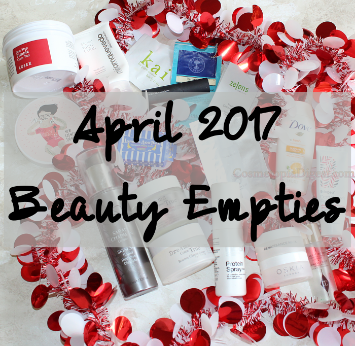 Here are the beauty products I used up in April 2017, and my impressions of each.