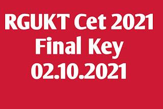 RGUKT CET 2021 Final Key 02.10.21
