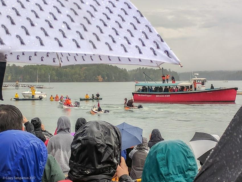 A few cellphone snapshots of the annual Damariscotta Pumpkinfest and Regatta on Monday. Enjoyed watching the wacky festivities even in the rain.