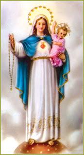 Représentation de la vierge marie avec Jésus enfant et son rosaire