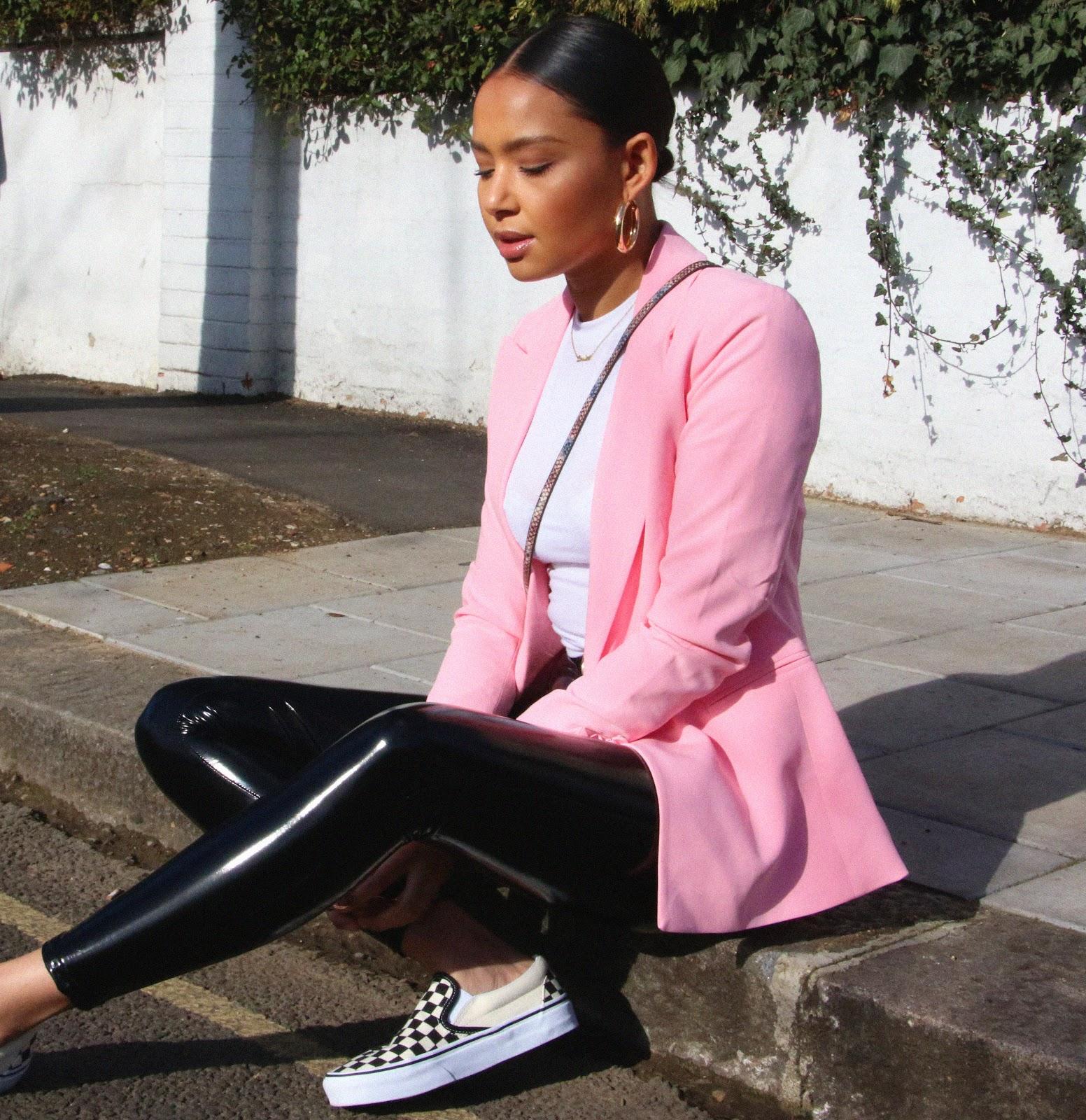 pink blazer, h&m pink blazer, pink, spring fashion, vans