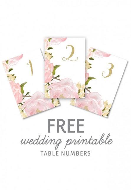 Flores en Rosa: Números para Mesas de Boda para Imprimir Gratis.