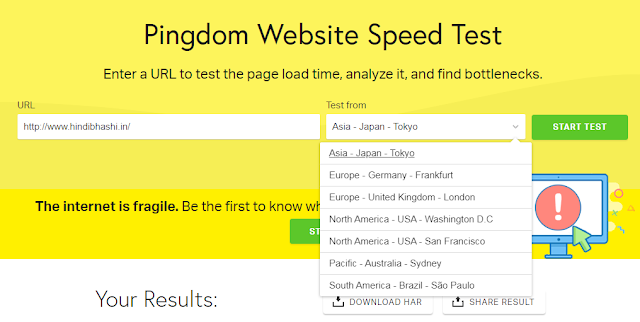 webstite speed test