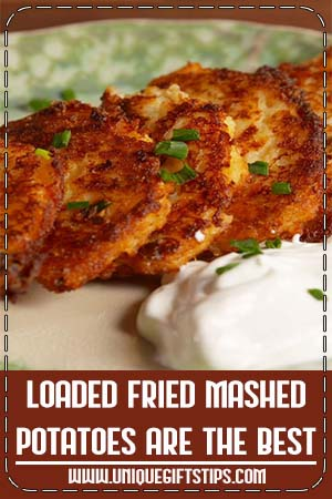 Looking for an easy potato side dish recipe? This Loaded Fried Mashed Potatoes Recipe is the best. #thanksgiving #leftovers #cheddar #cheese #Frying