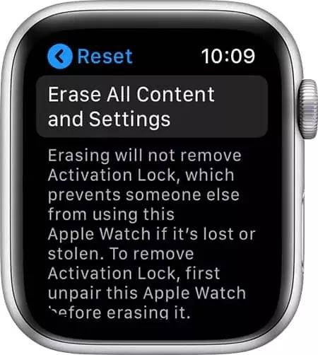 erase apple watch data