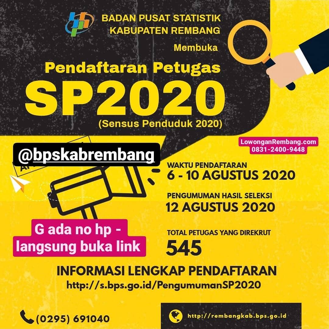 Badan Pusat Statistik Kabupaten Rembang Buka Lowongan Kerja Sebagai Petugas Sensus Penduduk 2020