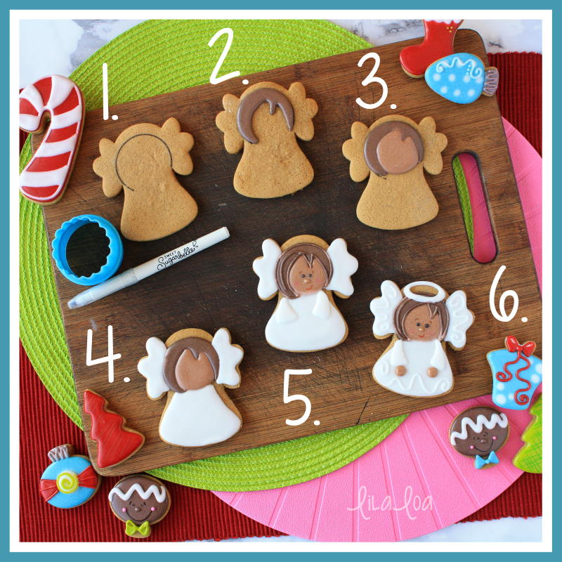 step by step Christmas angel sugar cookie decorating tutorial