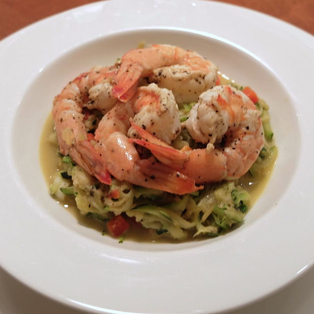 Zucchini confetti shrimp appetizer made with Healthy Solutions Spice Blends.