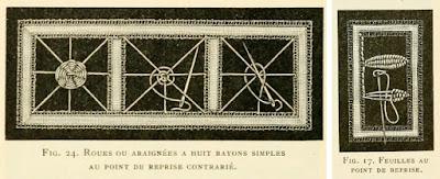 Dentelle à l'aiguille : roue ou araignée et point de feuille