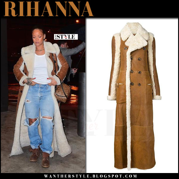 Rihanna in brown shearling long coat chloe what she wore winter style