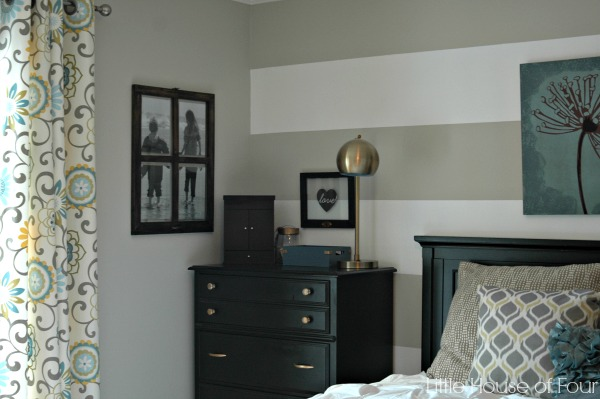 Gray, aqua and yellow bedroom makeover