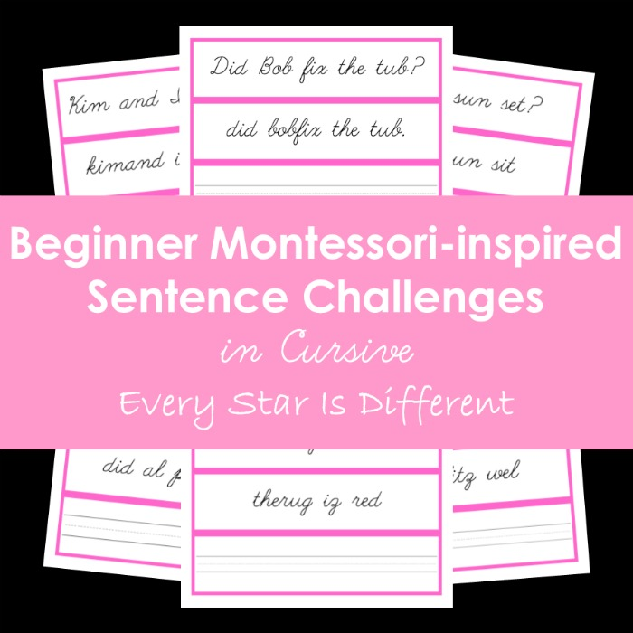 Beginner Montessori-inspired Sentence Challenges in Cursive