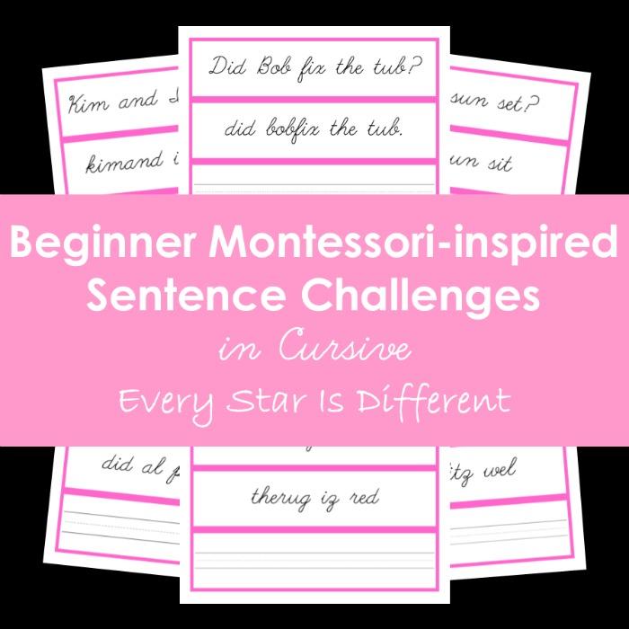 Beginner Montessori-inspired Sentence Challenges in Cursive