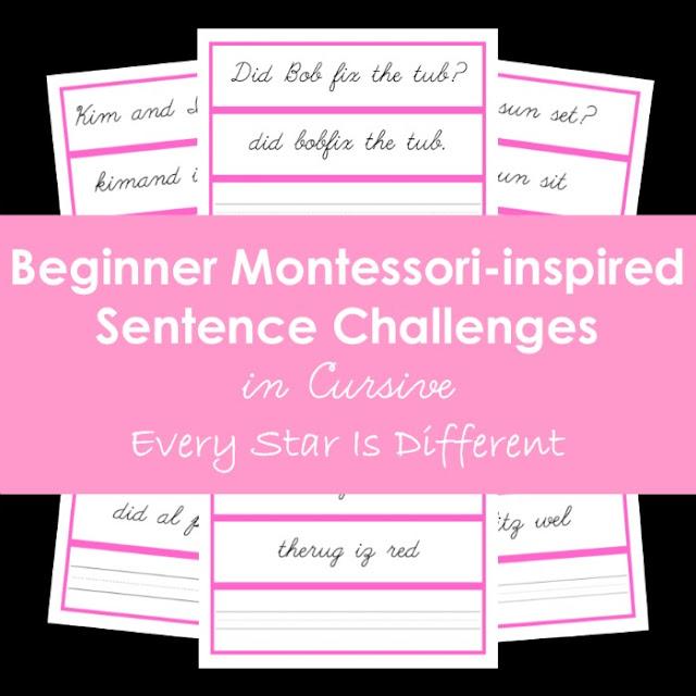 Montessori-inspired Beginner Sentence Challenges in Cursive