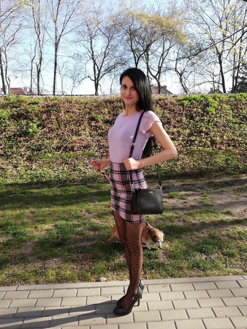 Orsay fioletowa bluzeczka z plisowanymi krótkimi rękawkami